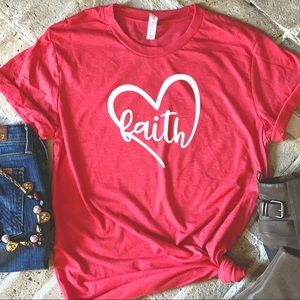 Tops - Faith heart graphic red tee t-shirt top New!